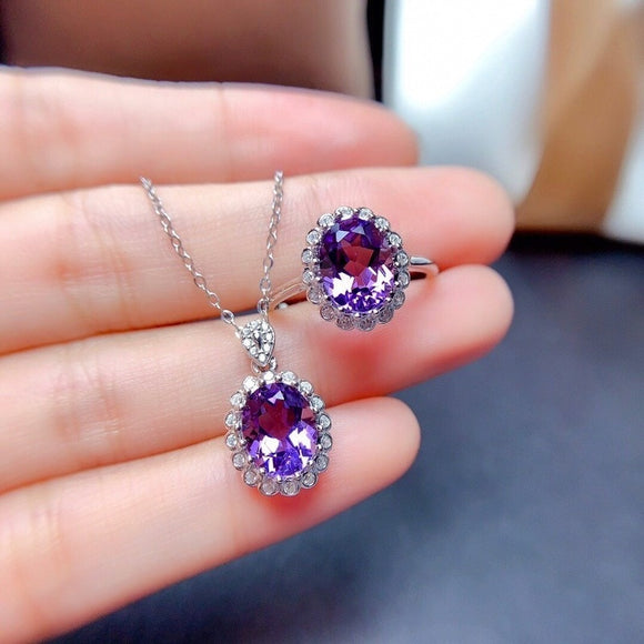 Women  Pendant Necklace  Fashion Chain Open Rings  Jewelry set
