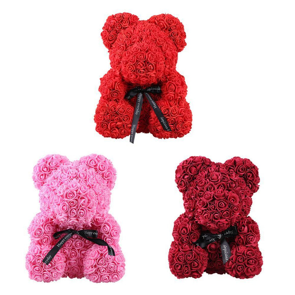 Rose Flower Teddy Bear For Valentine Day Girlfriend Gift