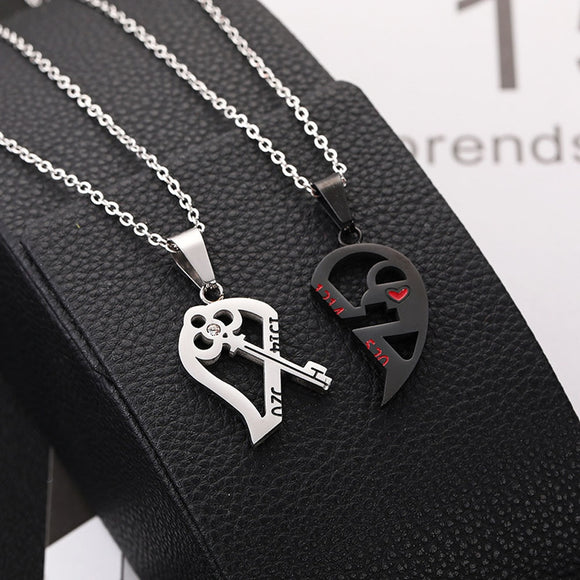 Romantic Couples Necklace Puzzle Heart Shape Valentine Gift