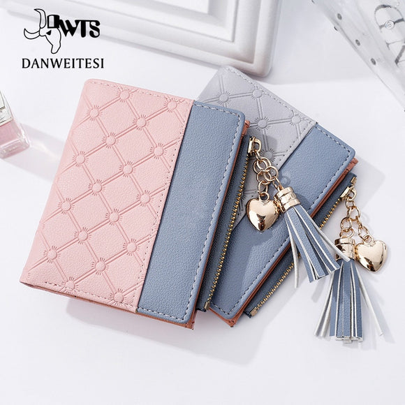Women Short Leather  Purse Card Holder  Ultra-thin Zipper Wallet Female Zipper Purse
