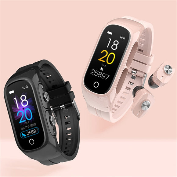 2 in 1 Earphones  Bluetooth 5.0  Fitness Track Smart Watch