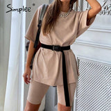 Casual Solid Outfits Women's Two Piece Suit with Belt Loose Sports Tracksuits