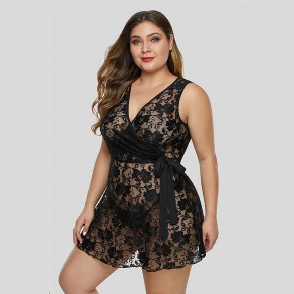 Plus Size Nightgowns Lingerie Sleepwear Lace Temptation Women Nightwear