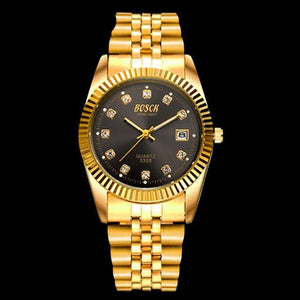 Gold color lovers couple men women watch