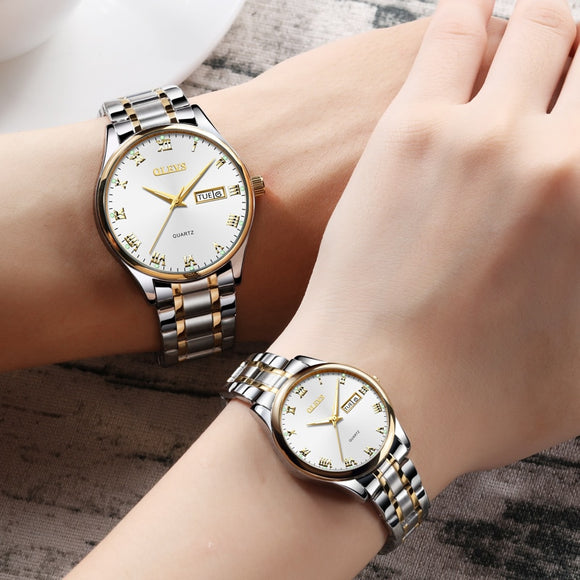 Waterproof Quartz Stainless Steel men women lovers couple Watch 1 Pair