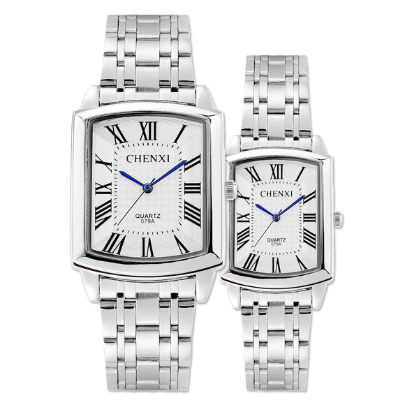 Silver Square Roman Numeral Stainless Steel Waterproof women men lovers watch