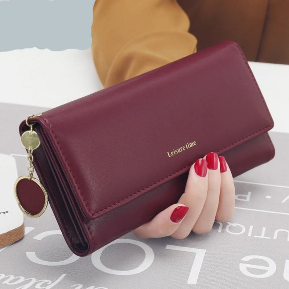 New Fashion Fresh PU leather  Long Style Multi-functional women's wallet Purse