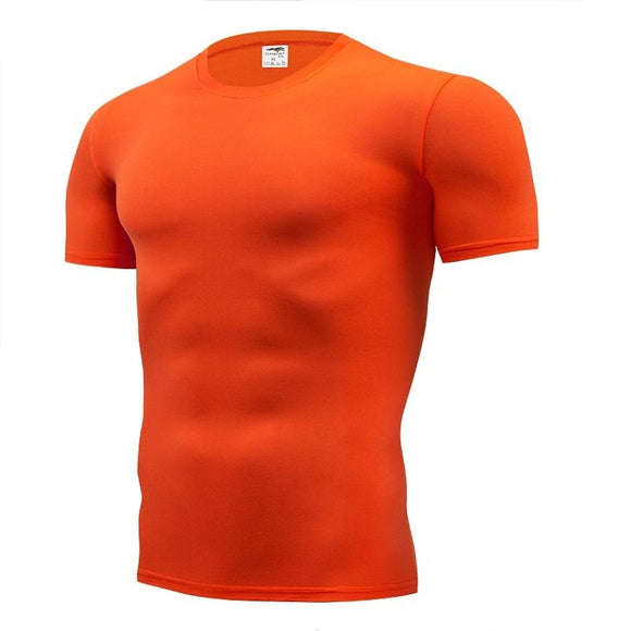 Pure color  Short Sleeve compression tight   S- 4XL T shirt for men