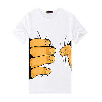 3D Big Hand Print Round Neck Short Sleeve White T-shirt
