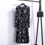 High Elastic Waist Full Sleeve Flower Print Floral women's Party Dress