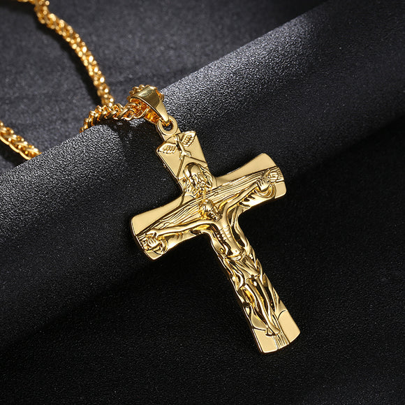 Religious Cross Jesus Pendant Necklace  Gold/Steel/Gunmetal color black Color