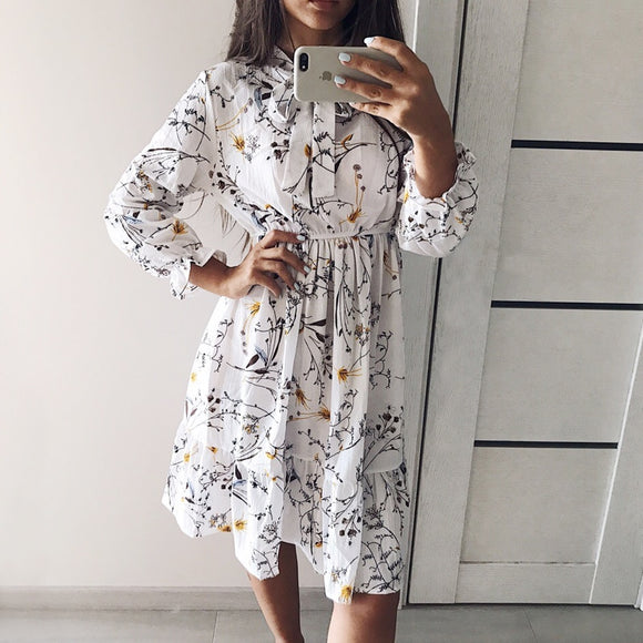 High Elastic Waist  Bow A-line Full Sleeve Flower Print Floral Bohemian women's Party Dress