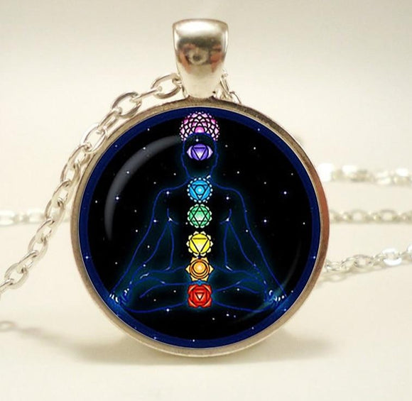 Chakra Symbols Pendant. Chakra Symbols Sign Necklace.  Glass Cabochon Buddhism Indian Jewelry