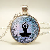 Glass Cabochon Buddhism Indian Chakra Symbols Sign Necklace  Pendant