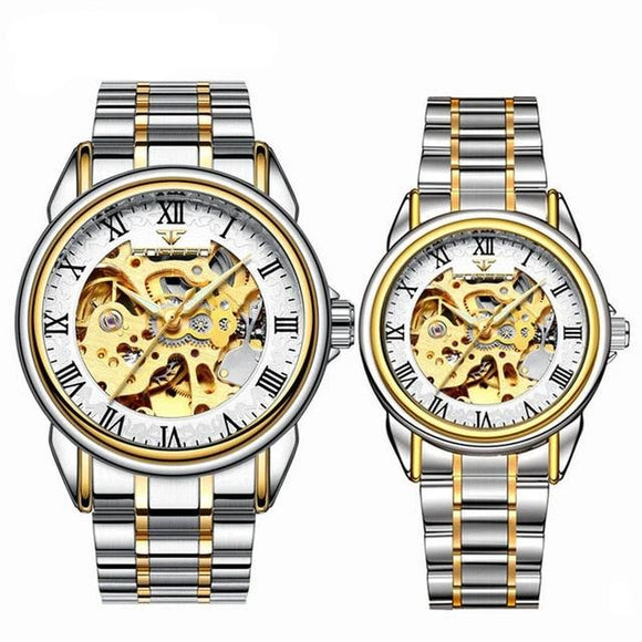Steel Mechanical Skeleton Wrist Watch for Men and Women