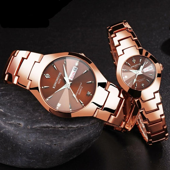 KINGNUOS Luxury Quartz  Dual Calendar  Steel Strap men women couple lovers watch