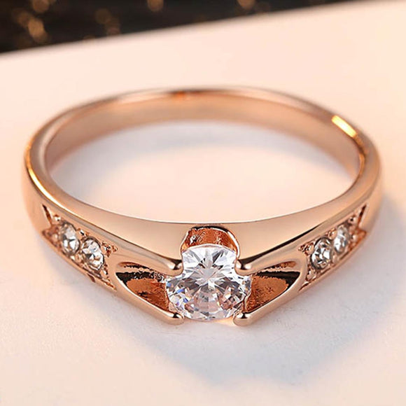 Rose Gold Color Assembly Anel  0.5 Ct Engagement Ring Zirconia Jewelry Rings