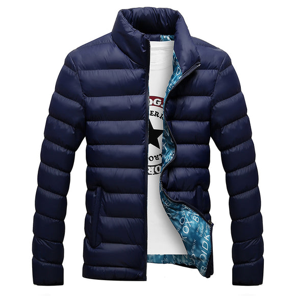 Fashion Stand Collar Solid Thick  Men Winter Male Parka Jacket