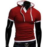 Slim Fitness Hooded Short-Sleeved Slim T shirt for men