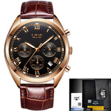 Waterproof 24 Hour Date Quartz  Leather Sport men's Wrist Watch