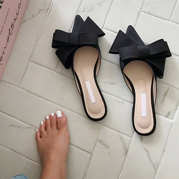 Silk satin Pointed bow tie slippers  flat heel  semi slippers women's shoes