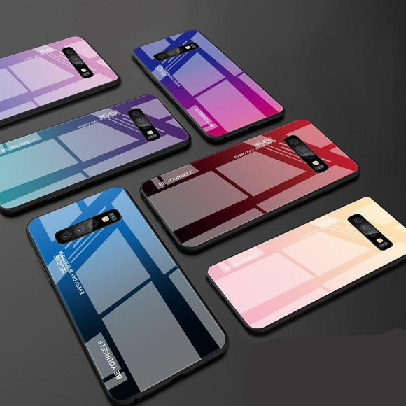 Tempered Glass back Cover Color Case   for Samsung phones 20+ models
