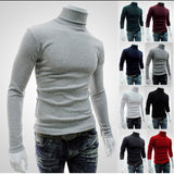 Turtleneck Solid Color Men's Slim Fit Knitted Pullovers Sweater