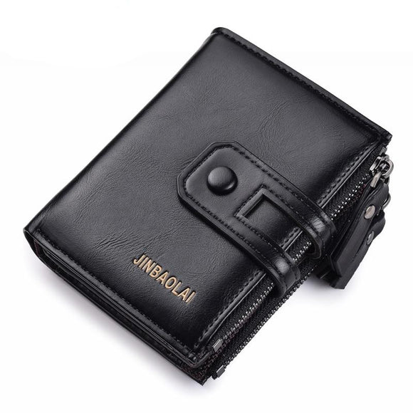 JINBAOLA Double Zipper& Hasp Design High Quality wallet for men