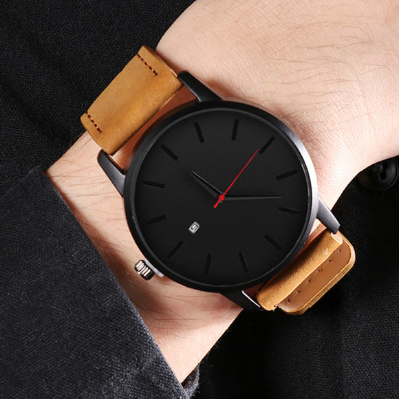 Fashion Leather Quartz Casual Sports Male Wristwatch