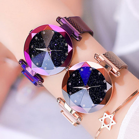luminous shining quartz magnet stainless steel mesh band starry sky women watch