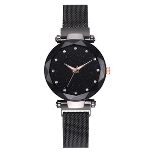 Luxury luminous shining quartz magnet stainless steel mesh band starry sky women watch