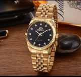 Luxury Golden Fashion Stainless Steel Quartz  Lovers Women & Men watch