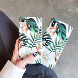 LACK Art Flowers Leaf Phone Case For iphone  11 11Pro Max XS Max X XR 6 S 7 8 Plus