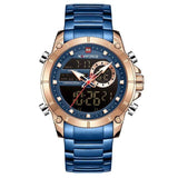 Military Sport Gold Quartz Steel Waterproof Dual Display Men Wrist Watch
