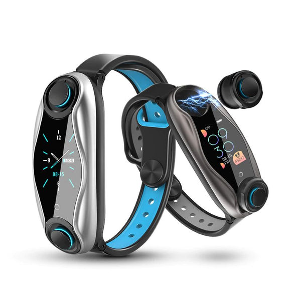 2 in 1 Bluetooth 5.0 android IOS Call Siri Support Smart bracelet watch with wireless Earphones