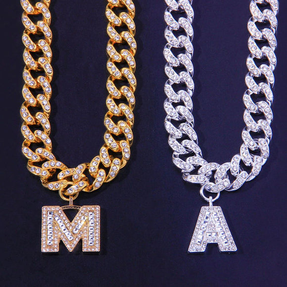 Miami Letter Cuban Link Iced Out Chain Necklace Choker  for  Women