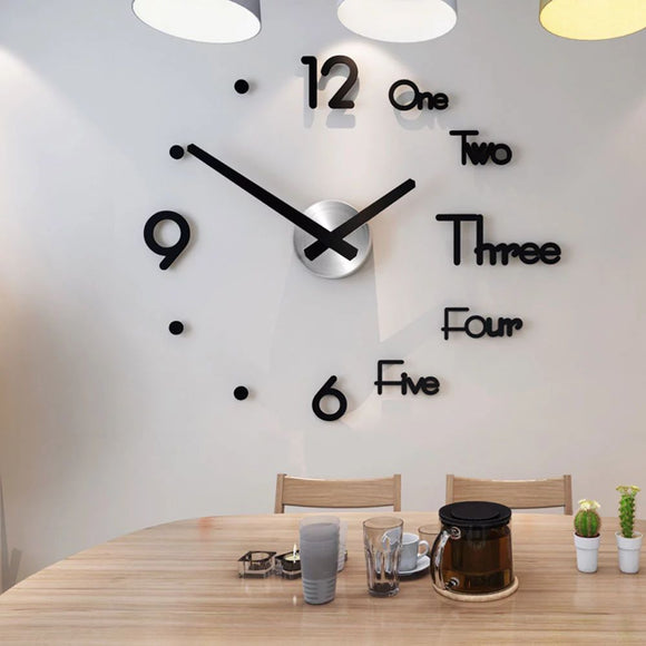 Modern Design  Large 3d Diy Acrylic Mirror Wall Clock