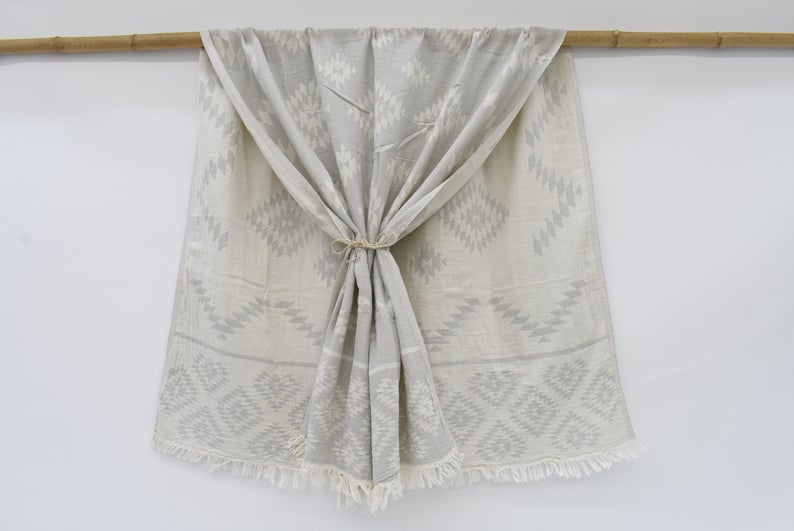 Organic Pale Grey Patterned Towel