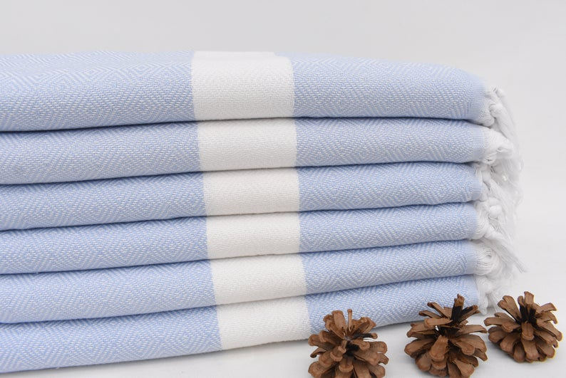 Organic Diamond Design Towel - Baby Blue