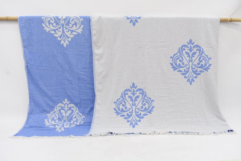 Organic Handmade Patterned Throw Bedspread - Large