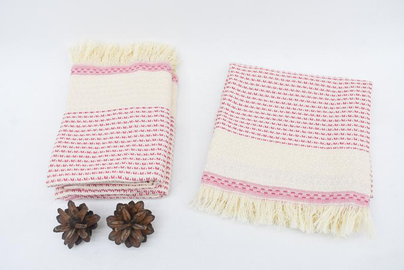 Organic Cotton Handmade Tea Towel Pink