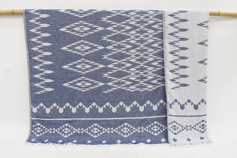 Organic Handmade Patterned Throw Bedspread - Small