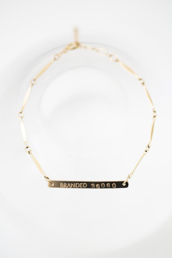 Gold-Filled Branded Chain Bracelet