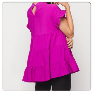 Magenta Love Baby Doll Top