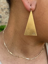 Load image into Gallery viewer, Branded Brass Triangle Earrings