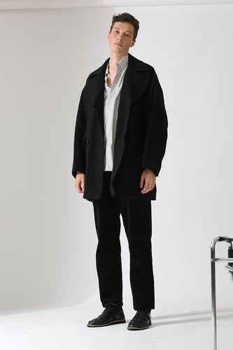 STILL BY HAND | Cocoon Coat | charcoal | Wolle