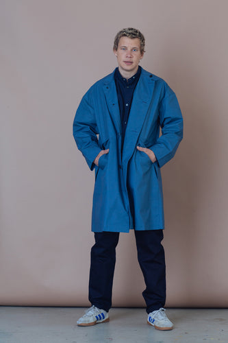 STILL BY HAND | Oversize Coated Maccoat | ash blue | Baumwolle