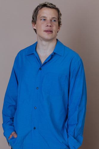 STILL BY HAND | Relaxed Over Shirt | blue | Baumwolle, Cupro
