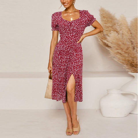 Fashion Floral Split High-Slim Short-Sleeve Dress