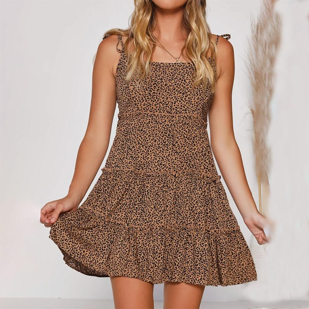 Spring and summer leopard BELT DRESS